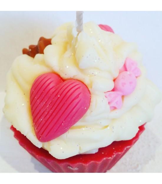"Bougie cupcake ""cerise"""